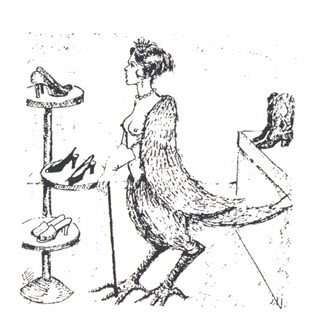 A harpy buying shoes