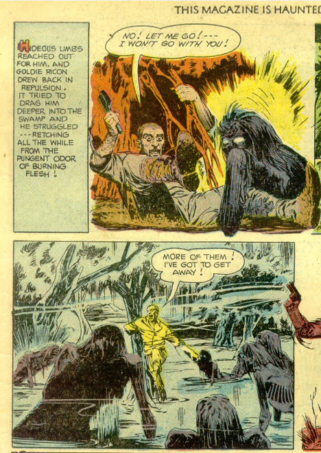 Two panels from a 1950s horror comic